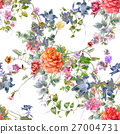 Watercolor painting of leaf and flowers pattern 27004731
