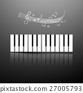 Piano Keyboard with Notes and Staff 27005793