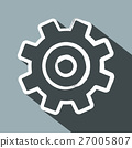Cog. Flat Design Long Shadow Vector Gear Icon. 27005807