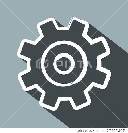 Cog. Flat Design Long Shadow Vector Gear Icon. 27005807