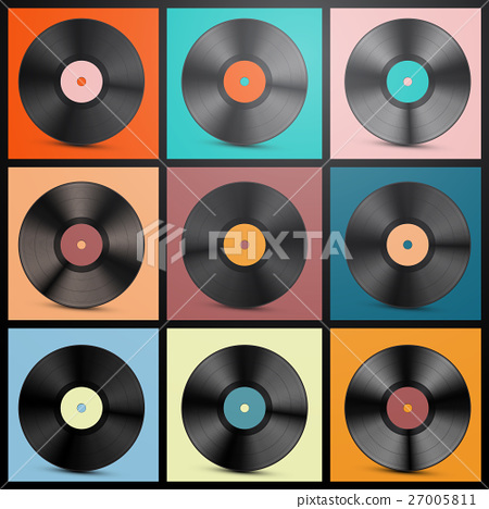 Vinyl Records. Retro LP Discs Set Vector. 27005811