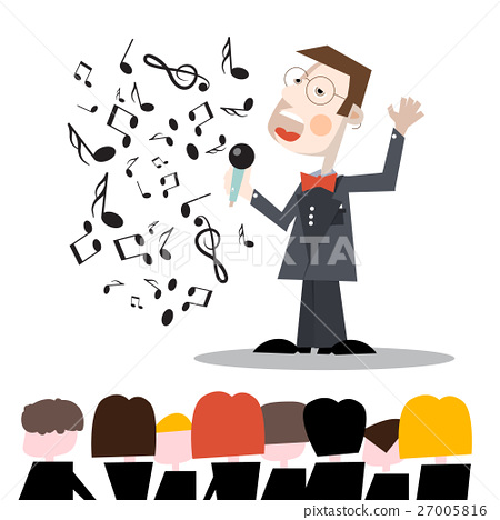 Singer with Notes and Audience Vector Illustration 27005816