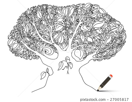 Tree. Outline Hand Drawn Vector Trunk and Leaves. 27005817