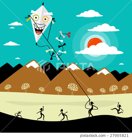 Fly a Kite. Vector Cartoon with People on Meadow 27005821