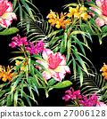 Watercolor painting of leaf and flowers pattern 27006128