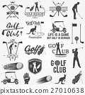 Set of Golf club concept with golfer silhouette. 27010638