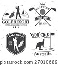 Set of Golf club concept with golfer silhouette. 27010689