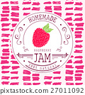 Jam label design template. for raspberry dessert 27011092