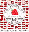 Jam label design template. for strawberry dessert 27011094