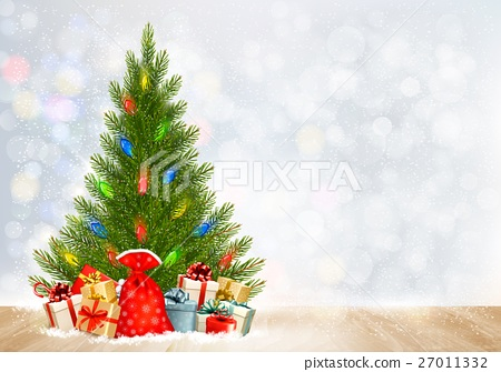 Holiday Christmas background with gift boxes  27011332