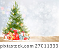 Holiday background with a Christmas tree 27011333