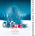 Holiday background with a blue Christmas tree 27011335