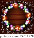 Wooden background with vintage garlands, Vector  27019778