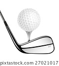 Golf ball and golf stick isolated on the white. 27021017