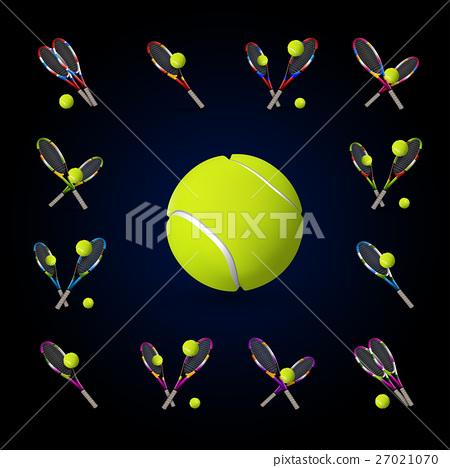 Vector tennis symbols as design elements 27021070