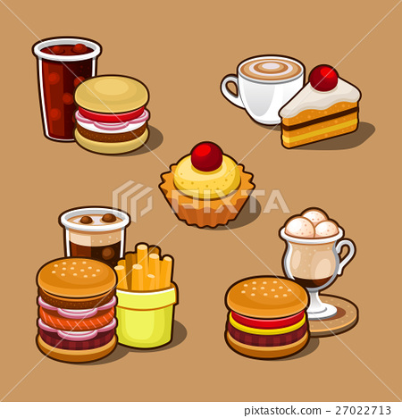 Set of colorful cartoon fast food. 27022713