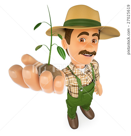 3D Gardener with a plant growing in hand 27025619
