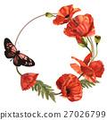 Wildflower poppy flower wreath in a watercolor 27026799