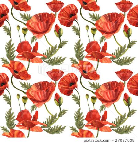 Wildflower Poppy Flower Pattern In A Watercolor