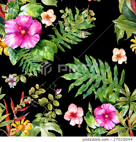 Watercolor painting of leaf and flowers pattern 27028044