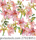 Watercolor painting of leaf and flowers pattern 27028051