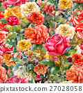 Watercolor painting of flowers, rose  pattern 27028058