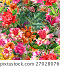Watercolor painting of leaf and flowers pattern 27028076