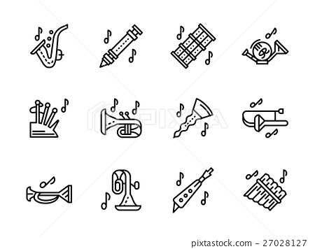 Music wind instruments black line vector icons set 27028127