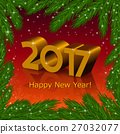 New year 2017 and a fir tree frame 27032077