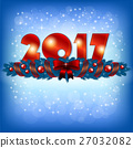 Red New Year 2017 numbers and Xmas decoration 27032082