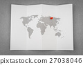 Paper folded world map with red Pin Pointer . 27038046