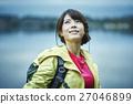 女性 トレッキング 湖 27046899