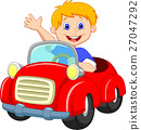 Young boy driving car 27047292