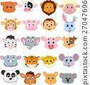Animal head cartoon collection set 27047696