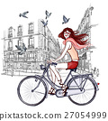 woman riding a bicycle in Paris 27054999