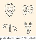 One line zodiac symbols set  27055040