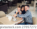 family, parenthood, technology people concept - 27057272