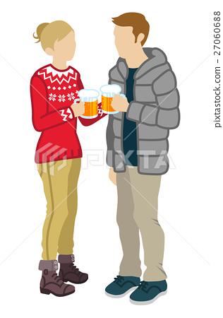 맥주로 건배하는 커플 27060688