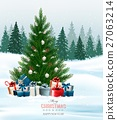 Christmas background with a Christmas tree  27063214