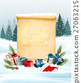 Holiday Christmas background with a gift boxes 27063215
