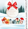 Holiday Christmas background with a gift boxes  27063217