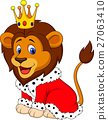Cartoon lion in king outfit 27063410