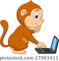 Cute monkey with laptop 27063411