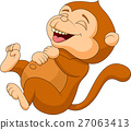 Cute monkey cartoon laughing 27063413