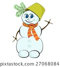 Cheerful snowman with a green bucket on his head 27068084