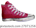 watercolor sketch of sneakers on white background 27071256