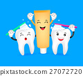 cute cartoon tooth brushing with toothpaste charac 27072720