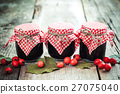 Three jars of jam and hawthorn berries 27075040