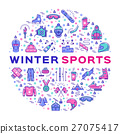 Winter sports infographics, Color thin line icons 27075417