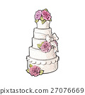 Traditional white tiered wedding cake decorated 27076669